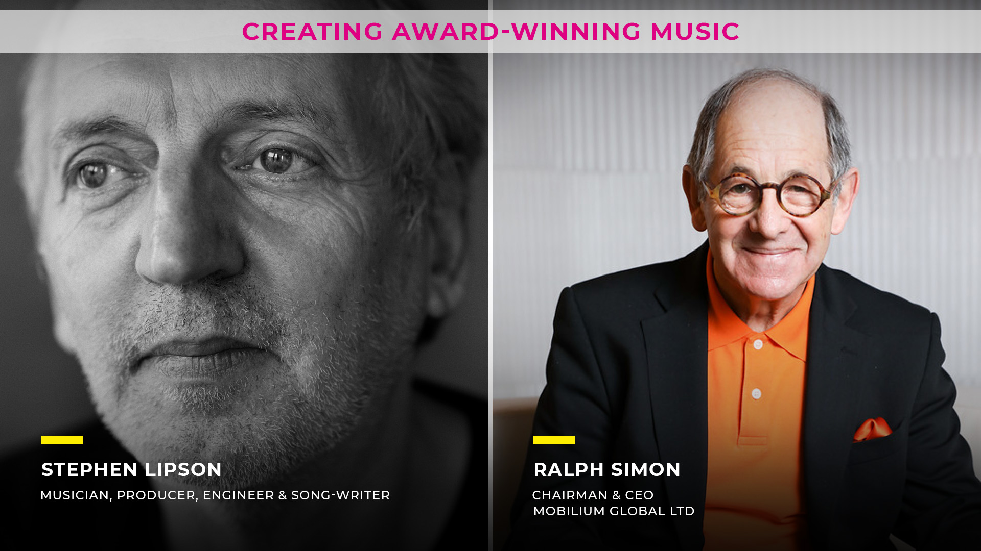 Creating award winning music, Stephen Lipson, Ralph Simon, 3rd Session- All about Music